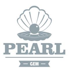 Pearl gem logo simple gray style vector