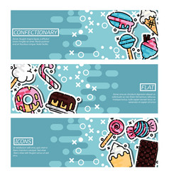 set of horizontal banners about confectionary vector image vector image