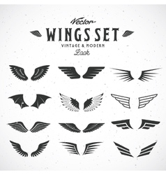 Abstract Wings Big Set Both Retro and vector image