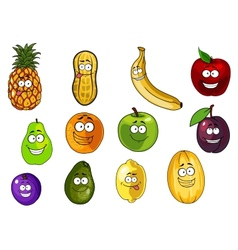 Colorful fruits and vegetables cartoon characters vector image vector image
