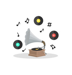 Old Gramophone and Vinyl Disc Set vector image