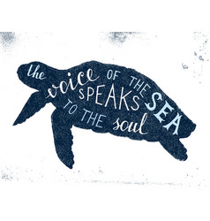 the voice of the sea speaks to the soul lettering vector image vector image