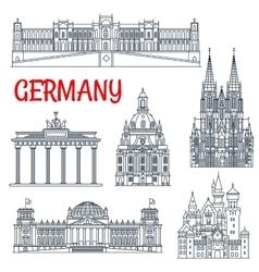 Tourism thin line Germany remarkable landmark vector image