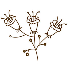 brown silhouette with set of flowers with stem and vector image vector image