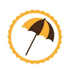 Circular frame with beach umbrella vector