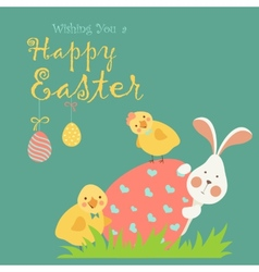 Easter bunnychicken and easter egg vector image