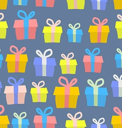 Gifts seamless pattern background of colored boxes vector image vector image