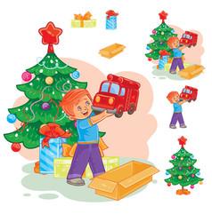little boy opening christmas presents vector image