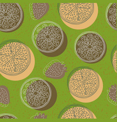 seamless pattern with lemons orange vector image
