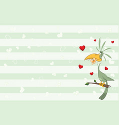 valentines card with green parrot vector image vector image