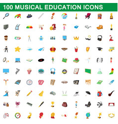 100 musical education icons set cartoon style vector
