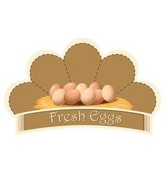 A fresh eggs label with eggs vector