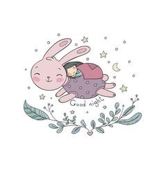 A sleeping girl and rabbit vector