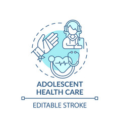 Adolescent health care blue concept icon vector