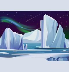 Arctic night landscape vector