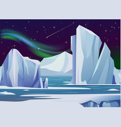 Arctic night landscape with vector