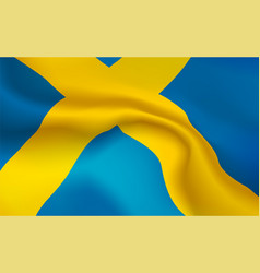 Background swedish flag in folds tricolour vector