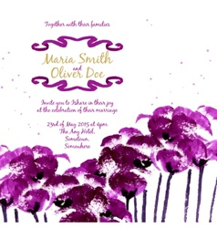 background with purple watercolor poppies vector image