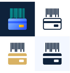 barcode with a credit card stock icon set vector image