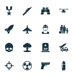 Battle icons set collection of fugitive missile vector