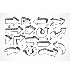 black doodle sketch arrows isolated on white vector image
