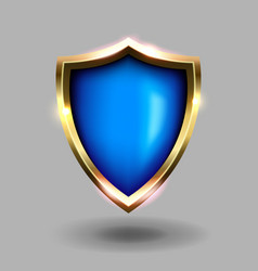 blue and gold shield icon on grey background vector image