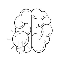 brain during creative process line icon vector image