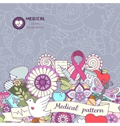 Breast awareness month colorful doodle vector