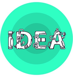 Bright of the word idea in techno style on a vector