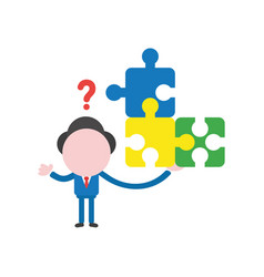 businessman character holding connected puzzle vector image