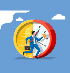 Businessman is running on dollar coin clock vector