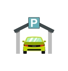 Car parking icon flat style vector image