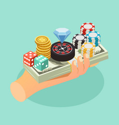 Casino isometric background vector