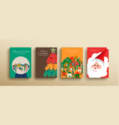 christmas and new year cute scandinavian card set vector image