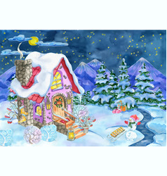 Christmas and new year house and snowman vector