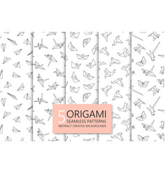 collection of seamless origami patterns abstract vector image