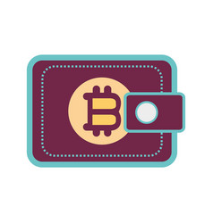 Color wallet icon with bitcoin currency sign vector