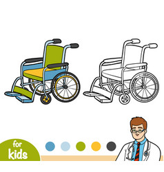 Coloring book wheelchair vector