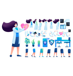 Constructor for creating a doctor women flat 2d vector
