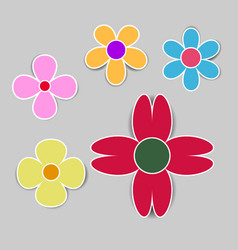 cute flower with shadow on white background vector image