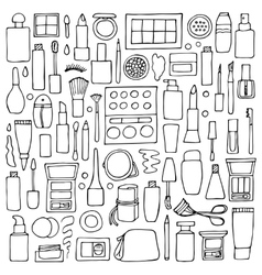 Decorative cosmetics doodle set vector