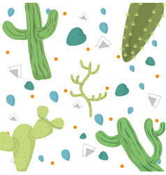 desert plants pattern background vector image
