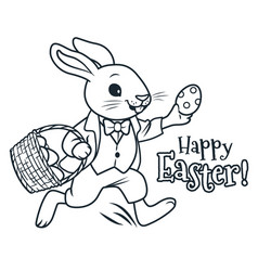easter bunny running with basket full of eggs vector image