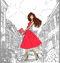 fashionable cute girl in pink dress walking down vector image