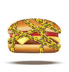 fast food burger with workout time tapes vector image