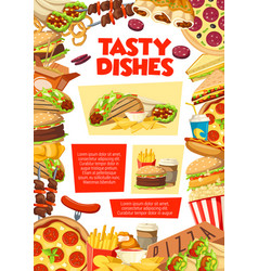fast food restaurant lunch poster vector image