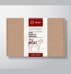 fine quality organic beef craft cardboard box vector image