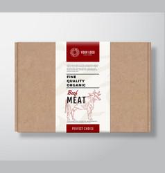 Fine quality organic beef craft cardboard box vector
