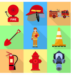 Firefighter tools icon set flat style vector