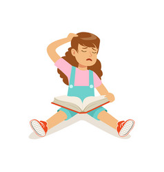 Frustrated sad girl character sitting on the floor vector